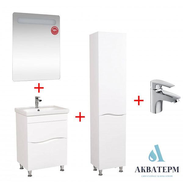 Комплект меблів Aqua Rodos: дзеркало Гама + тумба Альфа + умивальник Frame + пенал Альфа + змішувач Lal